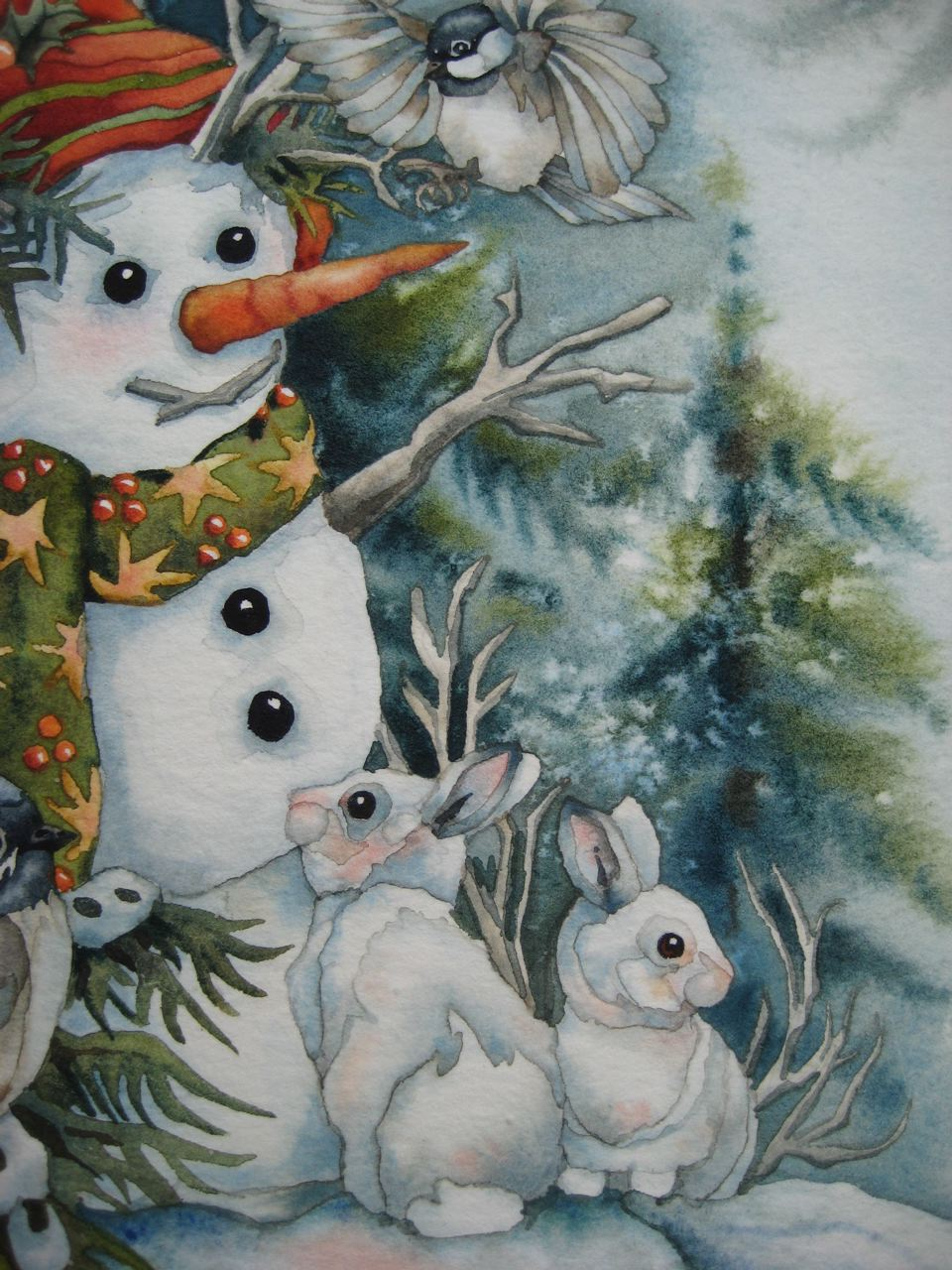 Herb garden and snowman art with heart drawing